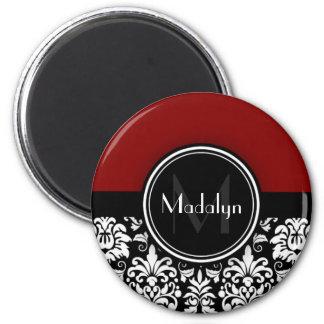 Maroon Black White Damask Monogram Letter Magnet