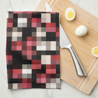 Maroon Black White Plaid Kitchen Towel
