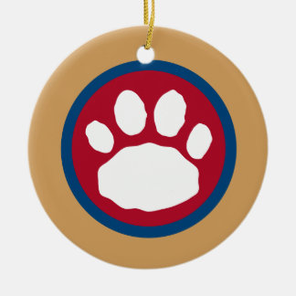Maroon, Blue and Gold Paw Print Ceramic Ornament