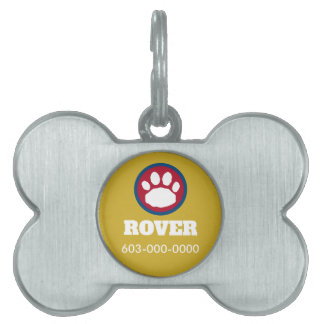 Maroon, Blue, and Gold Paw Print Pet Tag