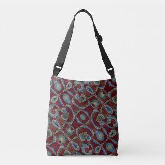 Maroon Blue Mosaic Pattern Crossbody Bag