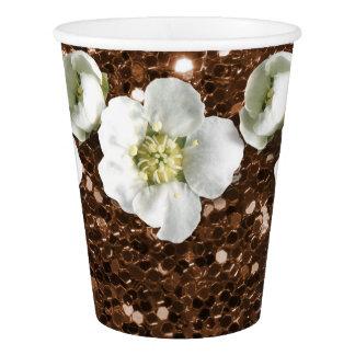 Maroon Brown Rustic Glitter  Flower Jasmin Sequin Paper Cup