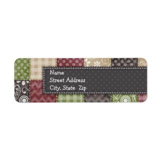 Maroon, Brown, Tan, & Green Quilt Look Return Address Label