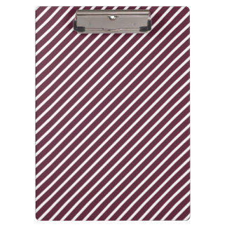 Maroon, Burgundy and White Diagonal Stripes Clipboard