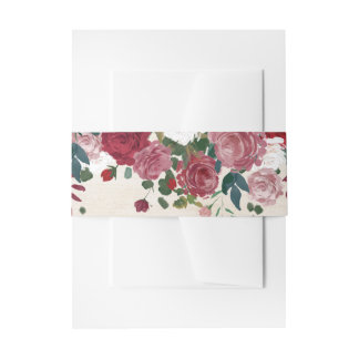 Maroon Burgundy Floral Fall Invitation Belly Band