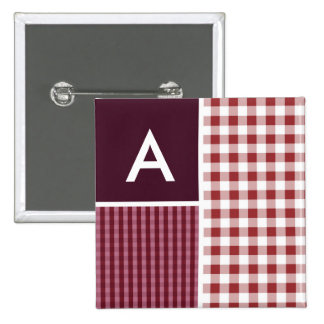Maroon Checkered; Gingham Pinback Button