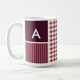 Maroon Checkered; Gingham Coffee Mug