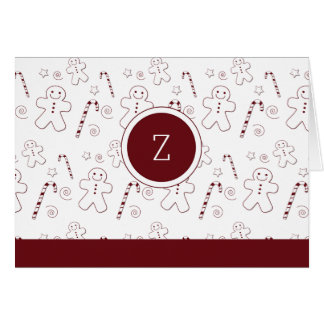 Maroon Christmas Pattern Monogram | Greeting Card