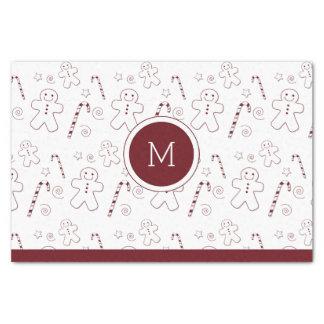 Maroon Christmas Pattern Monogram | Tissue Paper