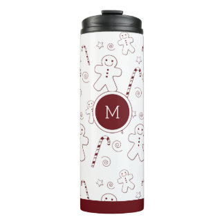 Maroon Christmas Pattern Monogram | Tumbler