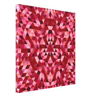 Maroon circular triangle pattern canvas print