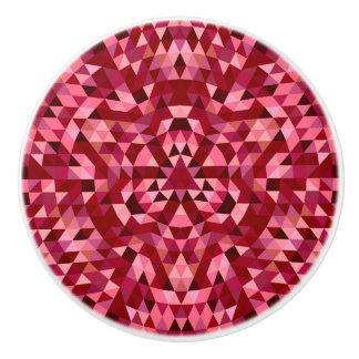 Maroon circular triangle pattern ceramic knob
