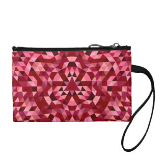 Maroon circular triangle pattern coin purse