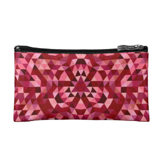 Maroon circular triangle pattern cosmetic bag