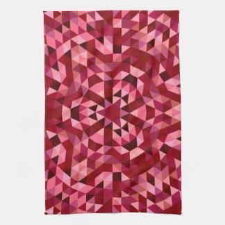 Maroon circular triangle pattern kitchen towel