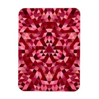 Maroon circular triangle pattern rectangular photo magnet