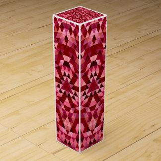 Maroon circular triangle pattern wine gift box