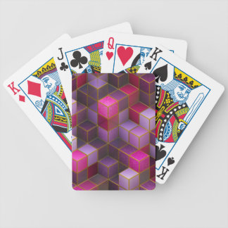 Maroon Cubes Bicycle Playing Cards