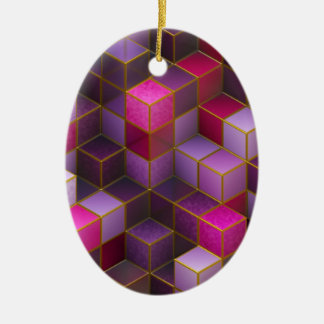 Maroon Cubes Ceramic Ornament