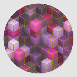 Maroon Cubes Classic Round Sticker