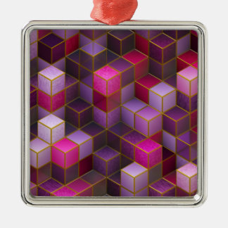 Maroon Cubes Metal Ornament
