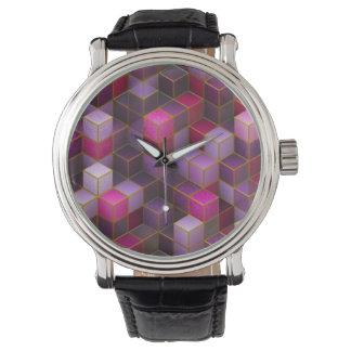 Maroon Cubes Watch