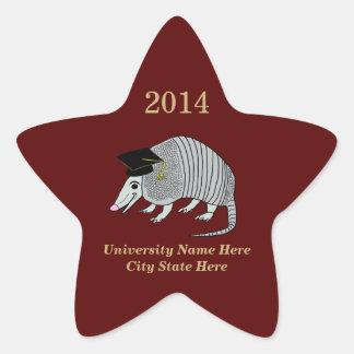Maroon Cute Armadillo Star Graduation Star Sticker