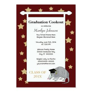 Maroon Cute Armadillo Stars Graduation Party Card