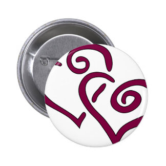 Maroon Double Heart 2 Inch Round Button
