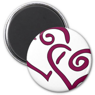 Maroon Double Heart 2 Inch Round Magnet