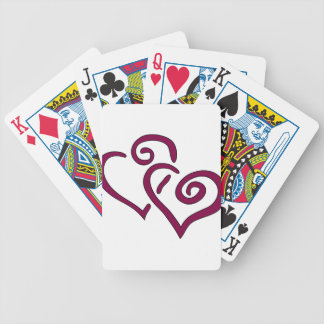 Maroon Double Heart Bicycle Playing Cards