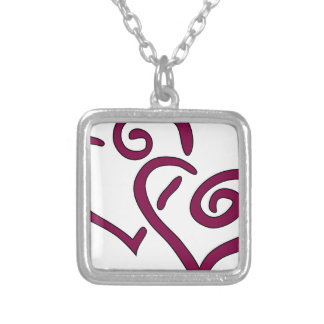 Maroon Double Heart Silver Plated Necklace