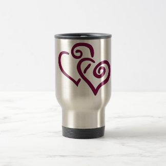 Maroon Double Heart Travel Mug