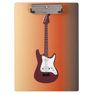 Maroon Electric Guitar, Red to Yellow Gradient Bac Clipboard