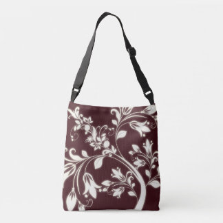 Maroon Flowers Cross Body Bag