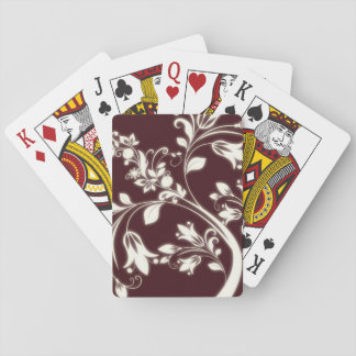 Maroon Flowers Playing Cards
