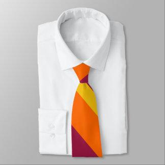 Maroon Gold and Orange Broad University Stripe Tie