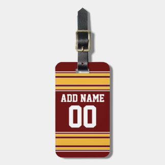Maroon Gold Football Jersey Custom Name Number Luggage Tag