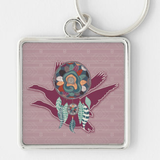 Maroon Goose Spirit Guide for Native American Silver-Colored Square Keychain