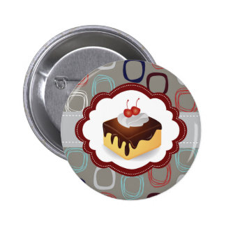 Maroon/Gray Cake with Cherries Pinback Buttons