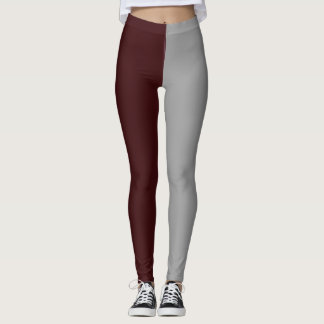 maroon gray   high school pride colors leggings