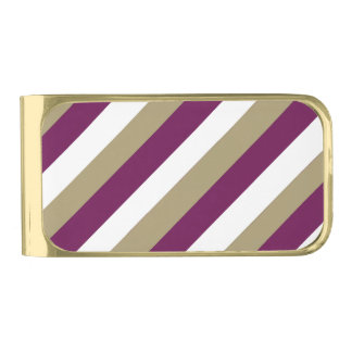 Maroon Green and White Gold Plated Money Clip Gold Finish Money Clip