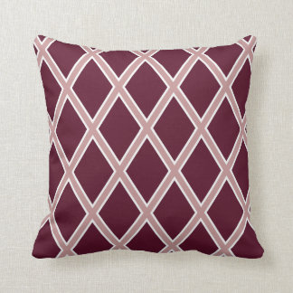 Maroon Harlequin Pattern Throw Pillow
