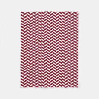 Maroon Herringbone Pattern Deep Red Design Art Fleece Blanket