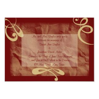 Maroon/Khaki Textured Wedding Invitation