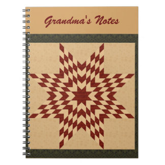 Maroon Lone Star Quilt Design Spiral Note Book
