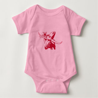 Maroon Longhorn Steer with Cowboy Hat Baby Bodysuit