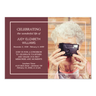 Maroon Minimal Celebrating Life | Custom Photo Card