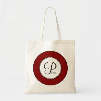 Maroon Monogram Add Your Custom Name Tote Bag