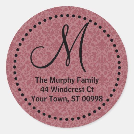 Maroon monogram return address label (#LABL 014)